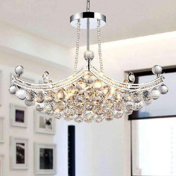 E14 6pcs Bulbs Modern Luxury Fixture K9 Crystal Hanging Wire Ball Ceiling Living Room Chandelier LED Lighting