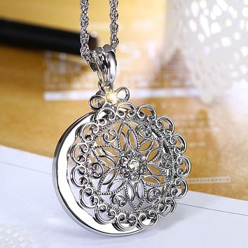 Women Jewelry Flower Fashion Magnifier 2x Reading Glass Drop ship Fairy Trendy Women Pendant Necklace kolye