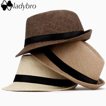 Ladybro Women Hat For Men Hat Ladies Summer Beach Cap Sun Hat Female Panama Straw Male Gangster Trilby Fashion Sun Visor Cap