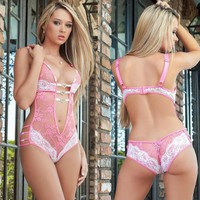 Fast Delivery Black Sexy Lingerie Costumes Lace Babydoll Underwire Top Chemise Nightdress Sexy Underwear
