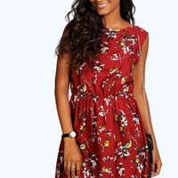 Crisa Zip Back Bird Print Skater Dress