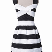Monochrome Stripe Sweetheart Pleats Dress