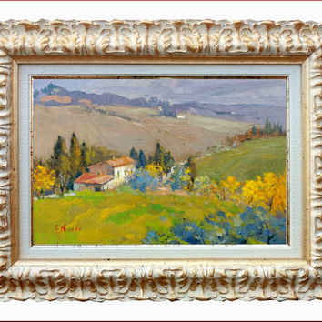 Italian painting Tuscany hills original oil with frame of Giampiero Novelli Italy