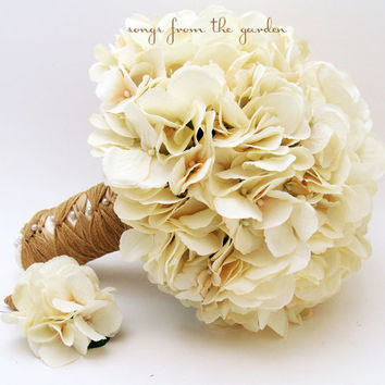 Wedding Bouquet Cream Silk Hydrangea Groom's Boutonniere Rustic Vintage Silk Flower Bridal Bouquet Jute Ribbon - Ivory Silk Flower Hydrangea