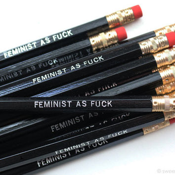 Feminist As Fuck Pencil Set in Black