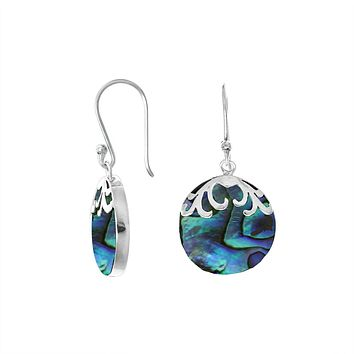 AE-7033-AB Sterling Silver Designer Earring With Round Abalone Shell