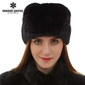 Top grade mink fur hats Genuine Leather fur hats for women Fashion Warm winter Black fur hats russian fur hat