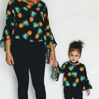 Mommy and Me Black Pineapple Top