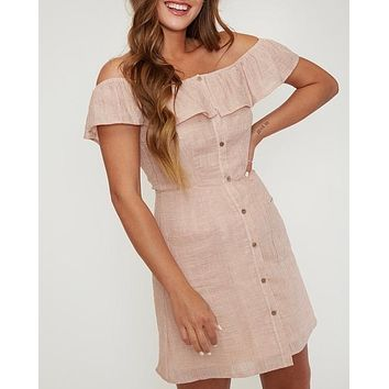 off the shoulder button-down woven mini dress - peach