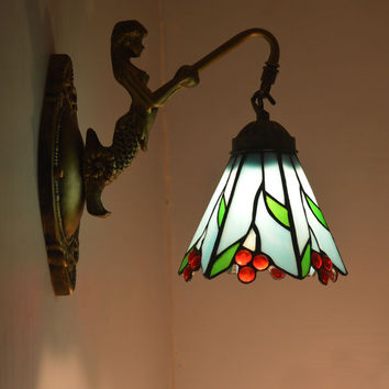 Tiffany Fresh Country Mermaid Wall Lamp Stained Glass Lampshade Wall Sconce Bedroom E27 110-240V