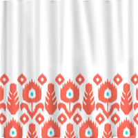 Custom Personalized Ikat Bottom Shower Curtain - your colors - shown Coral with Turquoise Dot Accents