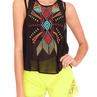 Bright Side Tank Top - Black Print