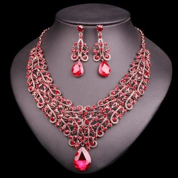 Fashion Crystal Necklace Earring Sets Vintage Bridal Jewelry Sets Red Rhinestone Party Wedding Prom Costume Accessories Women