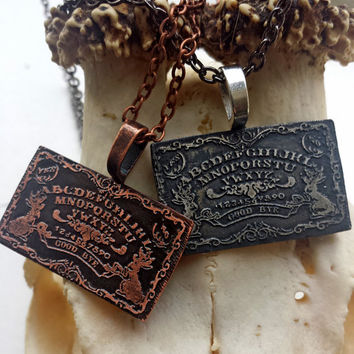 Silver Ouija Necklace - gothic occult witch jewelry, hand etched