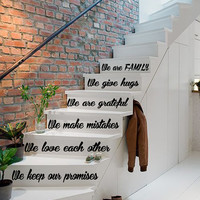 Wall Decals Quote Love Family Staircase Stairway Stairs Phrase Art Vinyl Decal Sticker Interior Design Decor KG741