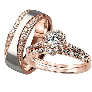 His her Wedding Ring Set 3 Piece Rose Gold Halo Diamond Cz Wedding Ring Set