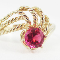 Ruby 14k Yellow Gold Twisted Swirls Ring, July Birthstone Ring, Solid 14 Karat Gold Ring, 14k Gold Ruby Ring, Ruby Solitaire Ring, Red Ruby