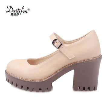 Daitifen Vintage Mary Janes Shoes High Heels Casual Solid Round Toe Platform Shoes Thick Heels Sweet Korean Girls Lolita Shoes