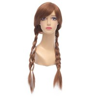 Amybria Anime Frozen Anna Princess Brown White Heat Resistant Costume Cosplay Full Hair Wigs