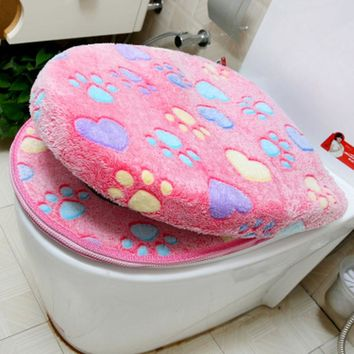 Thick Coral Velvet Toilet Seat Cover Set Soft Warm Zipper One / Two-piece Toilet Case Waterproof Bathroom WC Cover