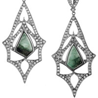 Loree Rodkin | Teardrop 18-karat rhodium white gold, diamond and emerald earrings | NET-A-PORTER.COM