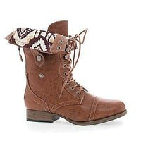 Jetta25AD By Wild Diva, Mid Calf Foldable Shaft Lace Up Combat Military Boots