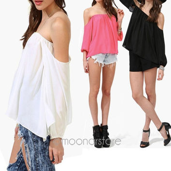WOMEN OFF THE SHOULDER BLOUSE TOP Long Sleeve Solid Summer Bohemian Boho