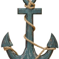 Nautical distressed Wooden Anchor With Rope Decor, Blue  -Benzara