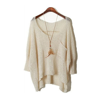 Women's Sexy Perspective Hollow Pullover Bat Wing Sleeve Irregular Crewneck Loose Sweater Causal Plus Size Female Clothes 2015