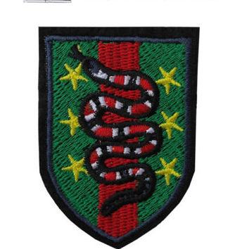 Coral Snake Stars Iron / Sew On Embroidered Patch Badge Embroidery Motif | eBay