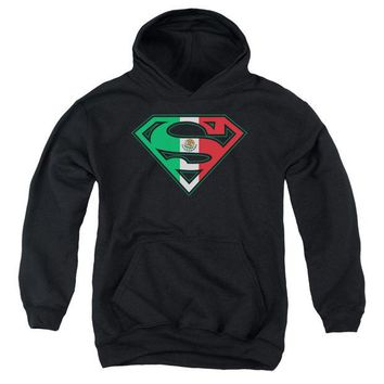 ac spbest Superman - Mexican Flag Shield Youth Pull Over Hoodie