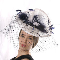 Free delivery Ascot hat! Elegant Veiled Ascot fascinator hat, White and navy Kentucky derby hat, Wedding Hat,Couture veiled headpiece