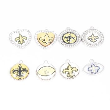 8 Styles Enamel Crystal Football New Orleans Saints Team Pendant Charms For DIY Necklace & Bracelet & Earring