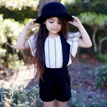 Girls Vest T-shirt + Halter Striped Outfit
