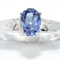 1.5 Carat Tanzanite Oval Diamond Ring .925 Sterling Silver Rhodium Finish White Gold Quality