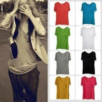 Women's Short Sleeve Casual Cotton Blouse Tops T-Shirts
