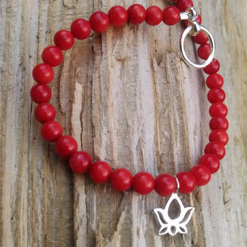 Red Coral Bead Bracelet with Sterliing Silver Lotus Flower Charm, Sterling Silver Lotus Flower Charm,Dainty Lotus Flower Coral Bead Bracelet