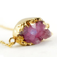 Druzy Necklace - Purple Pink - Natural Agate Titanium Druzy Geode Quartz Crystal Rough Cut Rock Drop Nugget Necklace OOAK - SDN57