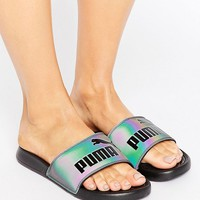 Puma Swan Iridescent Slider Sandals In Black at asos.com