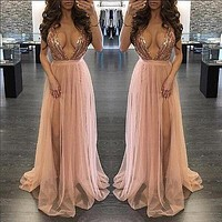 Women Sexy V Neck Sequins Bridesmaid Formal Gown Ball Party Prom Long Maxi Dress Clubwear