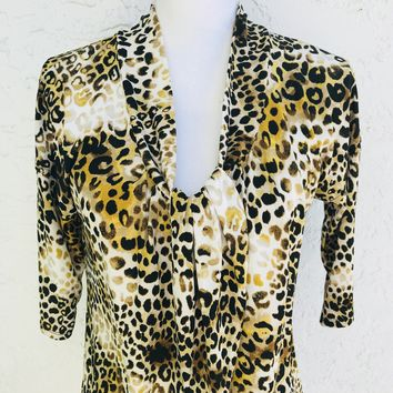 Nine West Gathered Neck Leopard Print Blouse, Size M