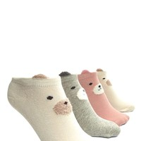 Dog Face Ankle Socks - 3 Pack