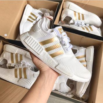 Summerfine ADIDAS Nmd_r1 White Gold Sports Shoes
