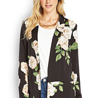 LOVE 21 Garden Party Blazer Black/Peach