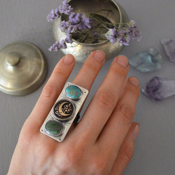Victorian Crescent Moon Button & Natural Royston Turquoise Sterling Silver Ring / Statement Ring / Bohemian Style / Boho Festival Jewelry