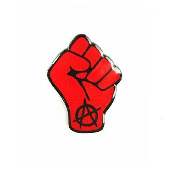 Anarchy Raised Fist Pin - Red