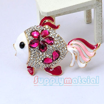 1pcs Bling Rosered Crystal Goldfish Alloy by supplymaterial
