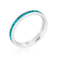 Stack Me Turquoise - Rhodium Plated Brass Ring With Round Cut Turquoise Colored Swarovski Crystals
