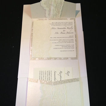 50 Wedding Micah Pearlized Pocketfold with Lace Wedding Invitations - 15th, 16th, 18th, 21st, 3oth, 40th, 50th, 60th