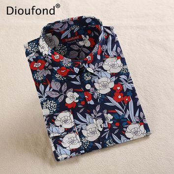 Dioufond New Floral Blouse Shirt Women Print Vintage Long Sleeve Blouses Turn Down Collar Casual White Navy Cotton Tops